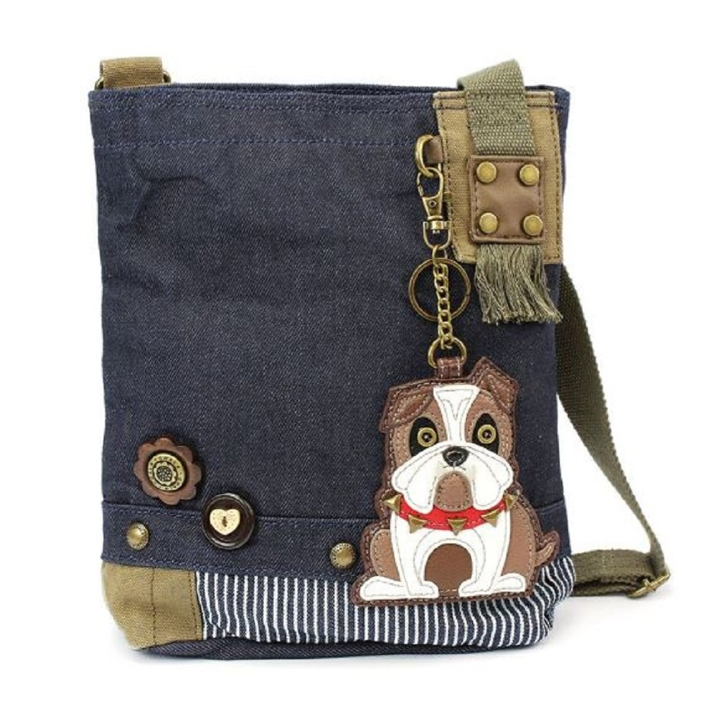 Chala Purse Handbag Denim Canvas Crossbody  with Key Chain Tote Bull Dog Puppy