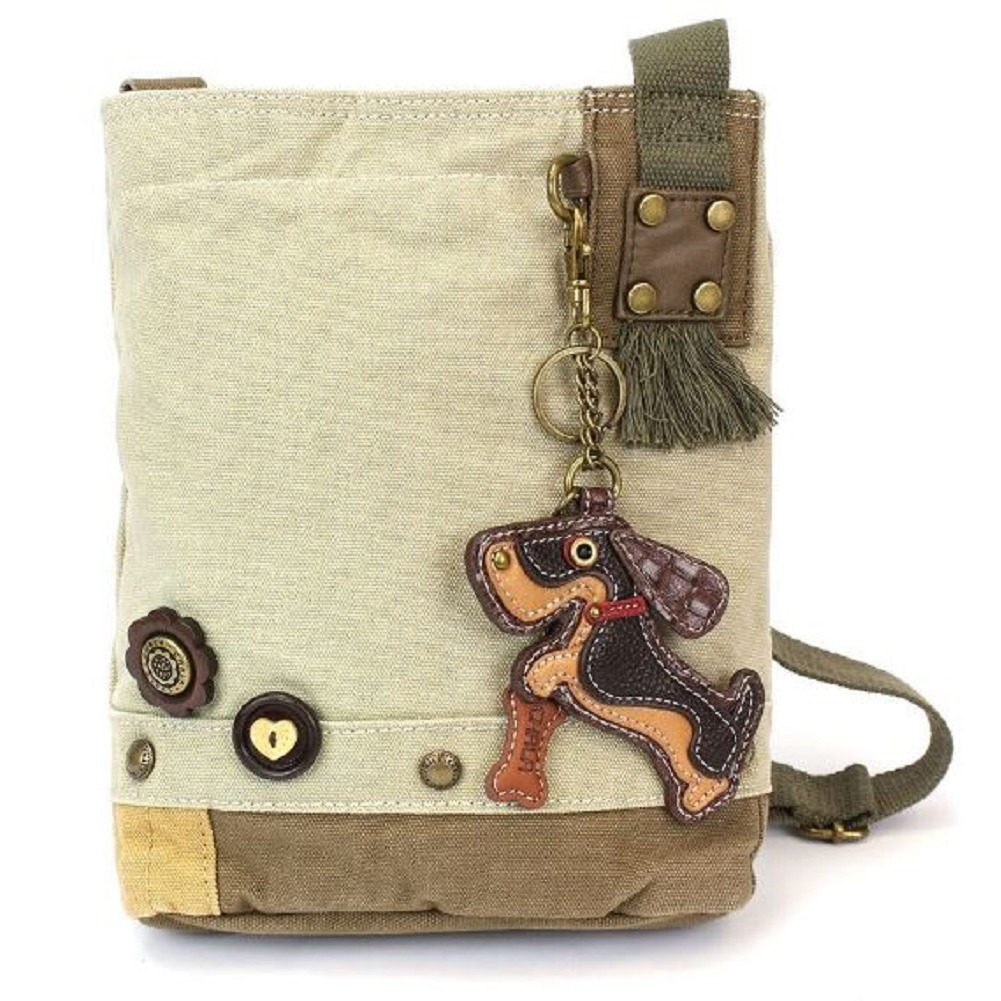 Chala Purse Handbag Sand Canvas Crossbody & Key Chain Tote Bag Wiener Puppy Dog