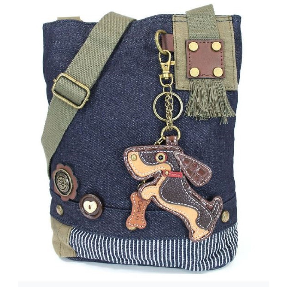 Chala Purse Handbag Denim Canvas Crossbody  with Key Chain Tote Wiener Puppy Dog