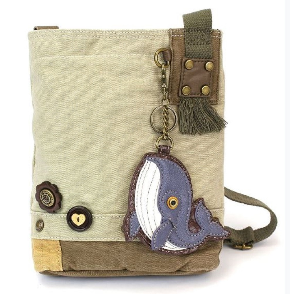 Chala Purse Handbag Sand Canvas Crossbody & Key Chain Tote Bag Ocean Whale