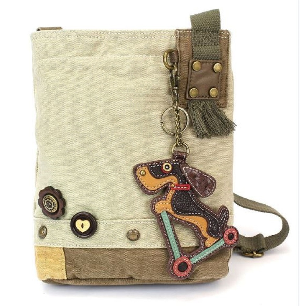 Chala Purse Handbag Sand Canvas Crossbody & Key Chain Tote Bag Wiener Dog Scooter