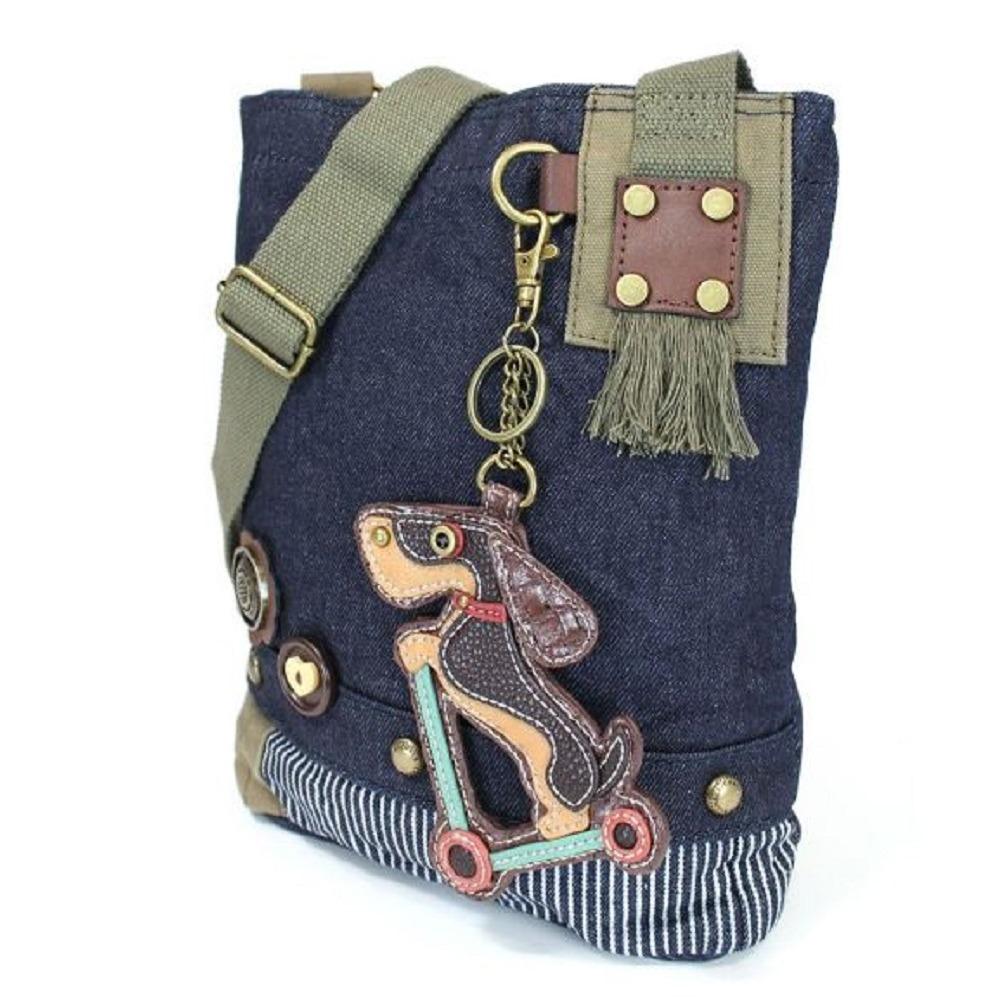 Chala Purse Handbag Denim Canvas Crossbody  with Key Chain Tote Wiener Dog Scooter