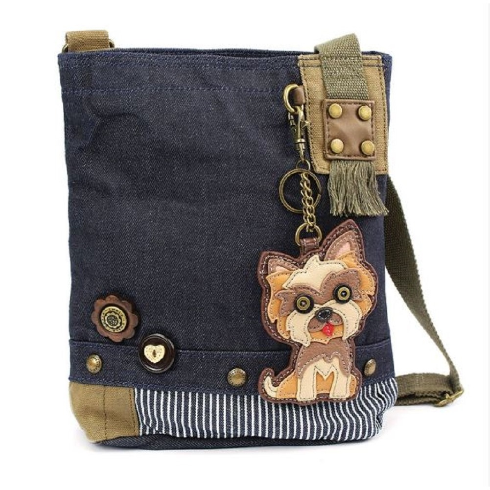 Chala Purse Handbag Denim Canvas Crossbody  with Key Chain Tote Yorkie Puppy Dog