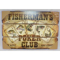 Fisherman'S Poker Club No Limit High Stakes Wooden Wall Sign Plaque