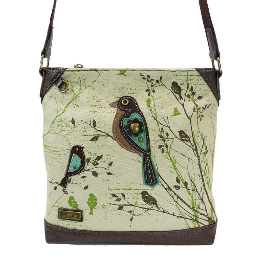 Charming Chala Safari Print Canvas Crossbody Pretty Bird Bag Handbag Purse