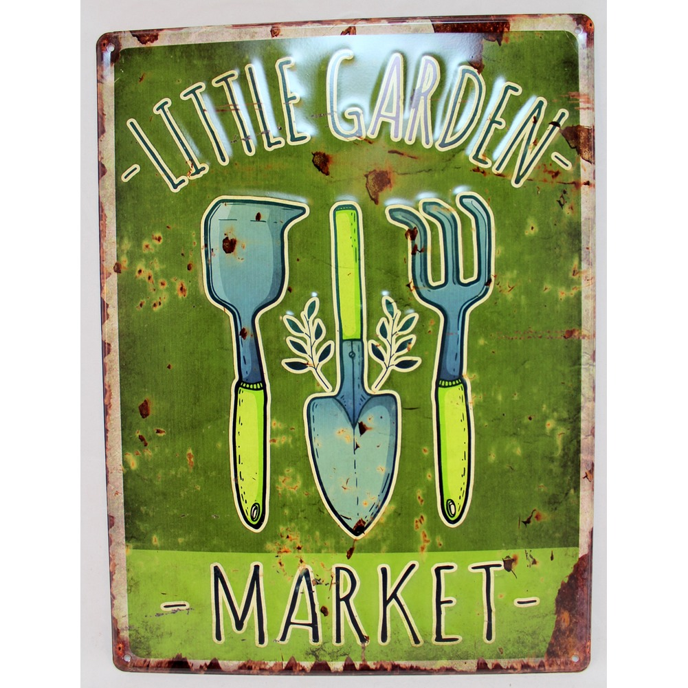 Little Garden Tools Market Metal Sign Pub Game Room Bar
