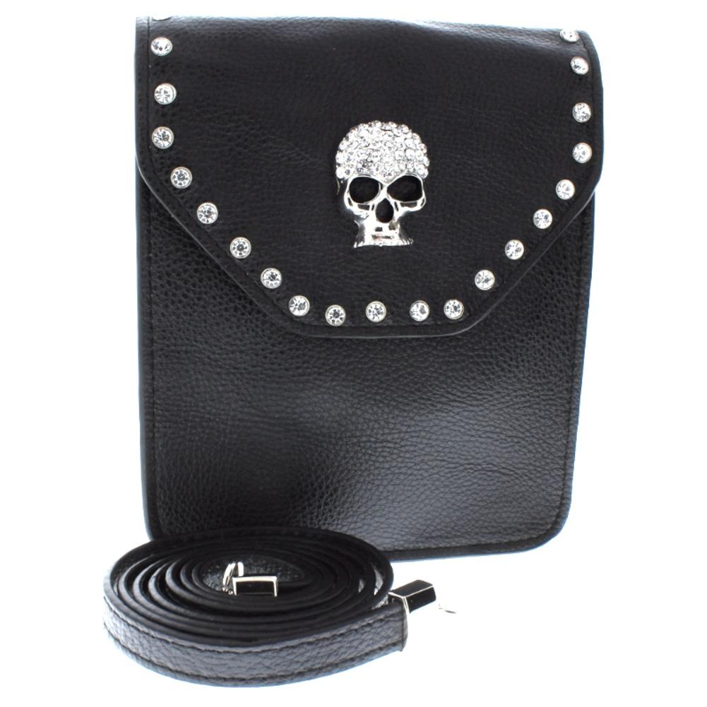 Genuine Leather and Studded Rhinstone Bling Small Cross Body Purse Handbag