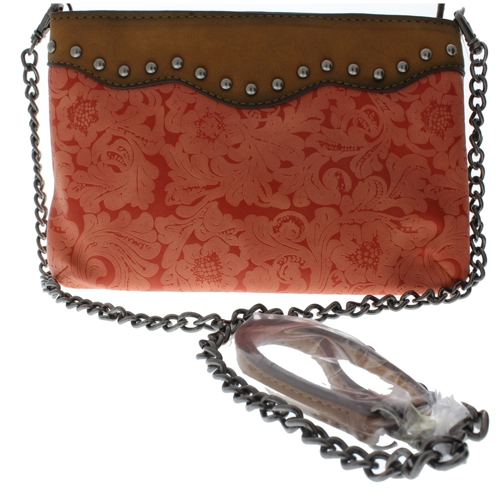 Genuine Leather Tooled with studd accents Small Cross Body Purse Handbag