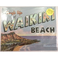Surf'S Up At Waikiki Beach Hawaii Hi Tropical Funny Metal Sign Pub Game Room Bar