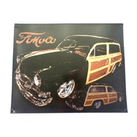 Fomoco Ford Woodie Stationwagon Car Advertisement Metal Bar Sign Man Cave