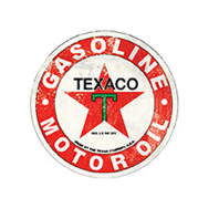 "Texaco Motor Oil Gasoline 12"" Round Metal Sign Pub Game Room Bar Garage"