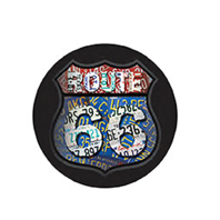 "Route 66 12"" Round Metal Sign Pub Game Room Bar Garage"