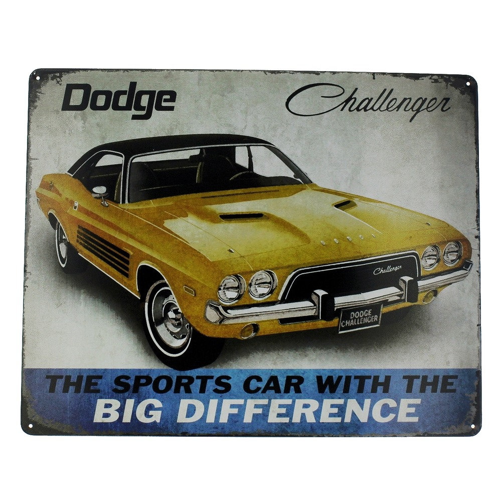 Dodge Challenger Sports Car with Big Difference Metal Sign Pub Game Room Bar