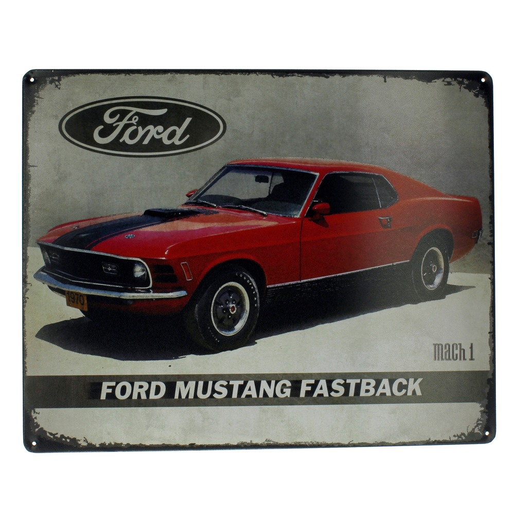 Ford Mustang Fastback Mach 1 Funny Metal Sign Pub Game Room Bar