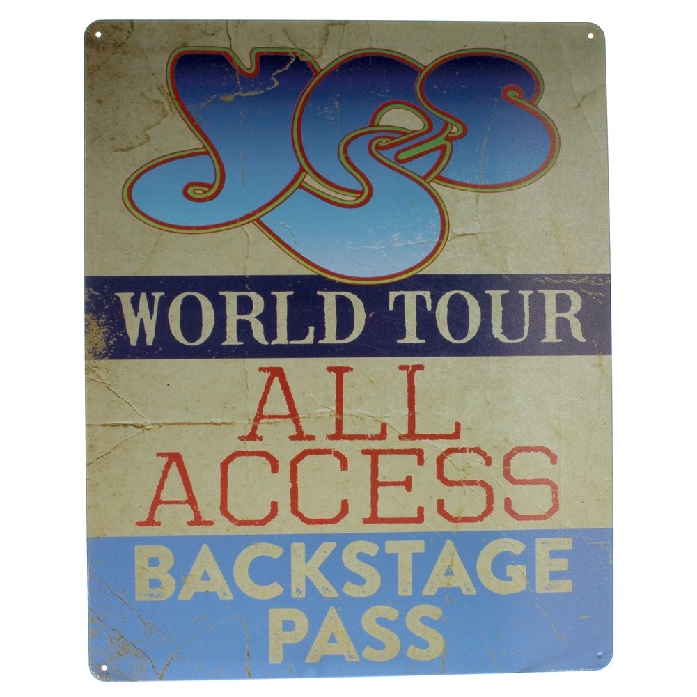 Yes World Tour All Access Backstage Pass Metal Sign Pub Game Room Bar Mancave