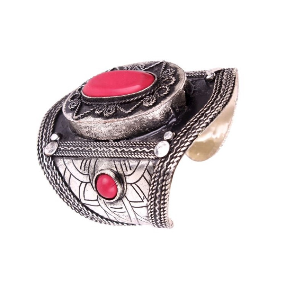 Tribal Silver-toned Wrist Cuff  Bracelet Red Accent Stones Antiqued Patina