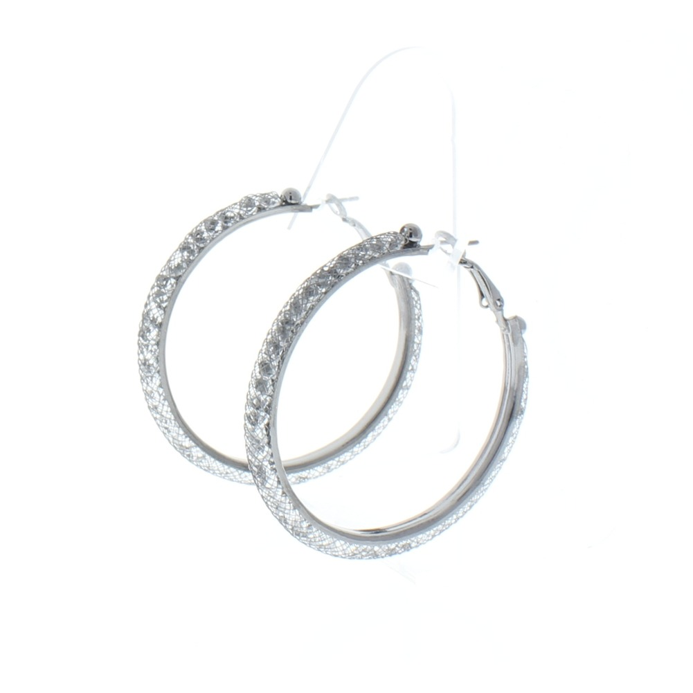 "Mesh Wire Hoop Earrings Crystals Inside 2"" Large Fashion Earrings Gun metal"