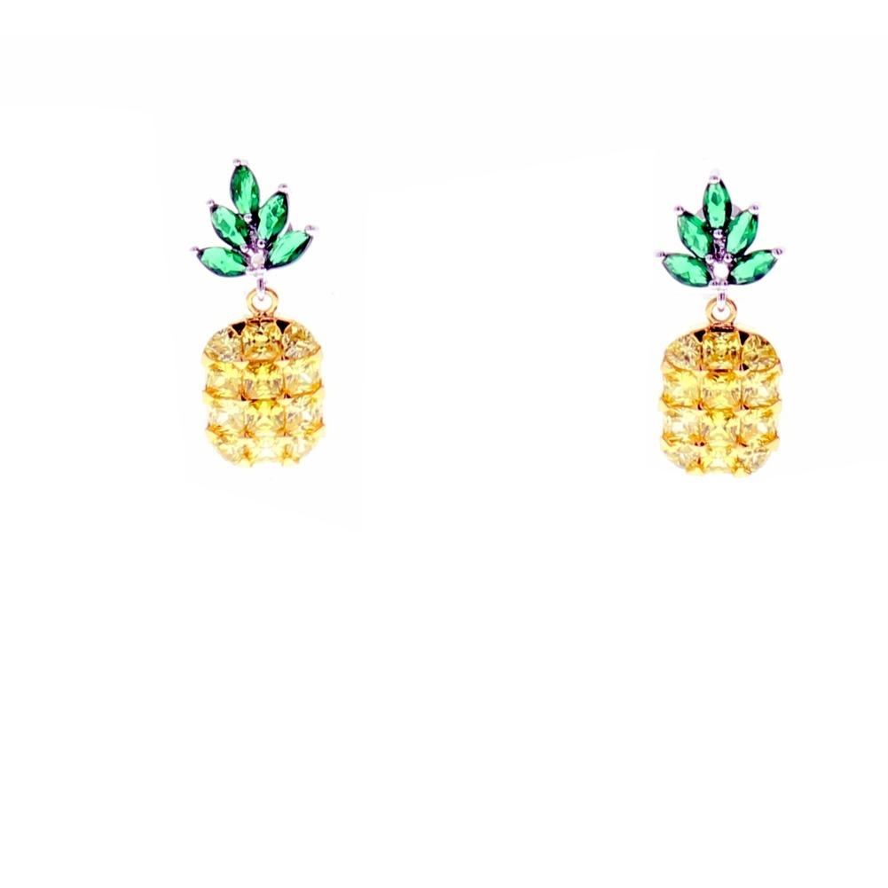 Rhinestone Bling  Pierced Post Earrings Yellow Pineapple Dangle Charm
