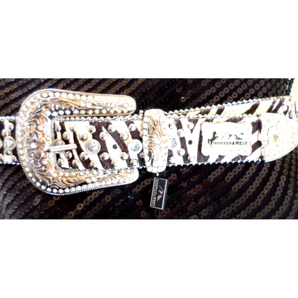 Montana West Western Inspired Black And White Leather Rhinestone Bling Belt