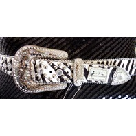 Montana West Bling Black And White Womens Rhineston Concho Belt Studs Bling New