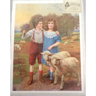 "Victorian Lithograph Print Picture ""Best Friends"" Children Boy And Girl 12X16"