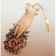Victorian Paper Bookmark Pansies Flower Lady'S Hand String Tassel Gift Tag