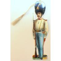Victorian Paper Bookmark Soldier Infantry String Tassel Gift Tag #Bk-04