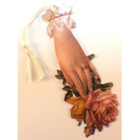 Victorian Paper Bookmark Rose Flower Lady'S Hand String Tassel Gift Tag