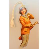 Victorian Paper Bookmark The Golfer String Tassel Gift Tag #Bk-10