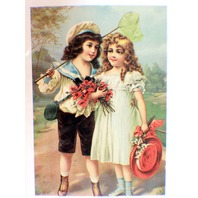 "Victorian Lithograph Print Picture ""Boy & Girl With Roses"" Romance"