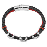 Inox Men'S Stainless Steel Black Braided Leather Red Black Bracelet #Br028