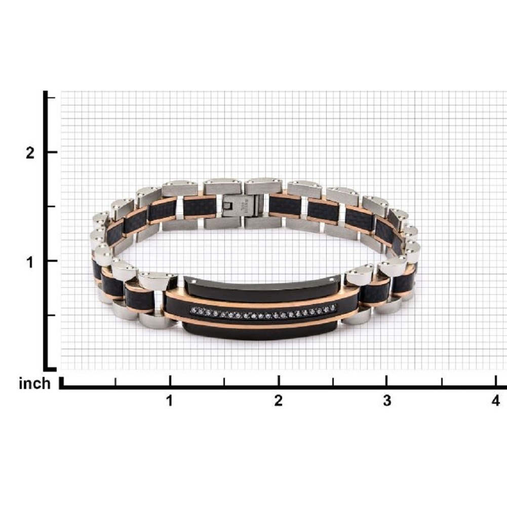 Inox Men's Tri-Tone Solid Carbon Fiber and Clear CZ Stainless Steel Bracelet