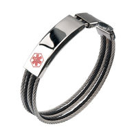 Inox Men'S Stainless Steel Medical Id Bracelet Polished Clasp 5 Cable #Br11247Ma