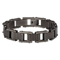 Inox Men'S Stainless Steel Gun Metal Finish Bracelet Edgy Contemporary #Br12650