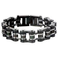 Inox Men'S Stainless Steel Motorcycle Chain Ip Black Bracelet  #Br12853
