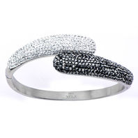 Women'S Inox Jewelry Stainless Steel Hematite And Clear Bangle Bracelet