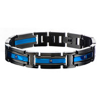 Inox Jewelry Men'S Stainless Steel Black IP and IP Blue Black CZ Link Bracelet
