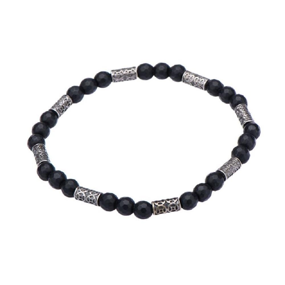 Inox Men's Black Hematite and Antiqued Beaded Bracelet