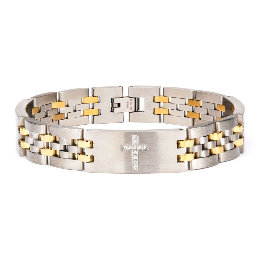 Inox Mens Stainless Steel Two Tone Clear CZ Stone Cross Panther Link Bracelet