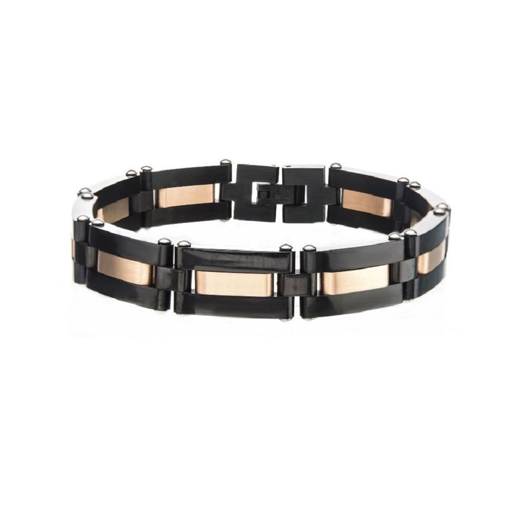 Inox Men's Alternating Black IP and Rose Gold IP Link Bracelet