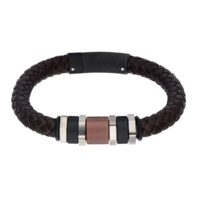 Inox Jewelry Men'S Stainless Steel Black Ip & Brown Bead Braid Leather Bracelet