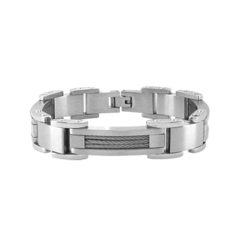 Inox Bracelet Men's Polish Finished with Interconnected Steel Link