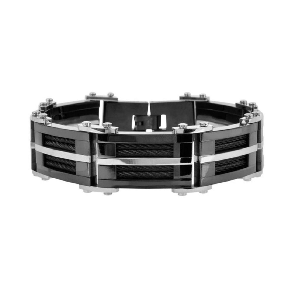 Inox Men's Stainless Steel IP Black Bracelet with Multiple Black Cables Inlayed
