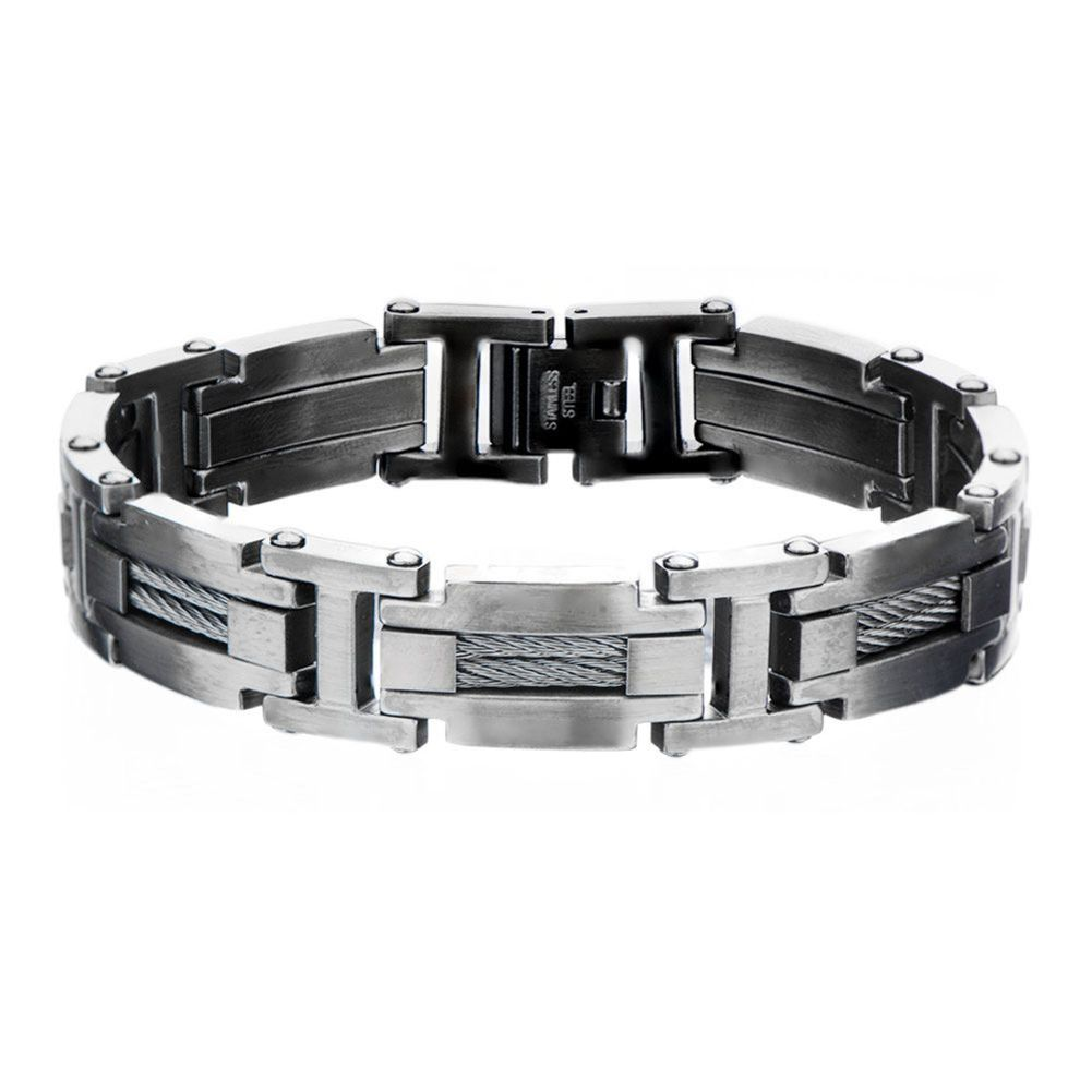 Inox Bracelet Men's Gunmetal Cable Bar Link Bracelet