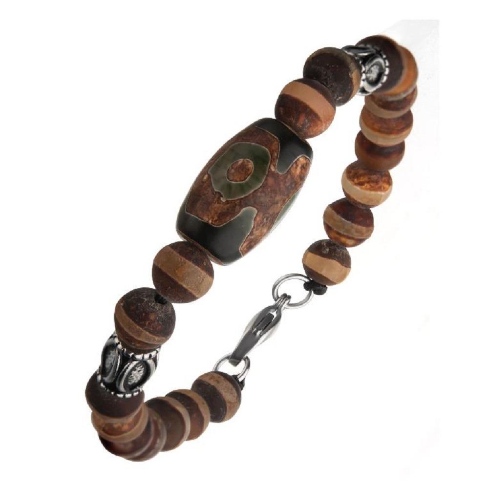 Inox Mens Dzi Tibetan Bead with Frost Stripe Agate Stone Steel Amulets Bracelet