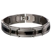 Inox Men'S Stainless Steel Matte & Polish Finish Ip Black Line Bracelet  #Br9011