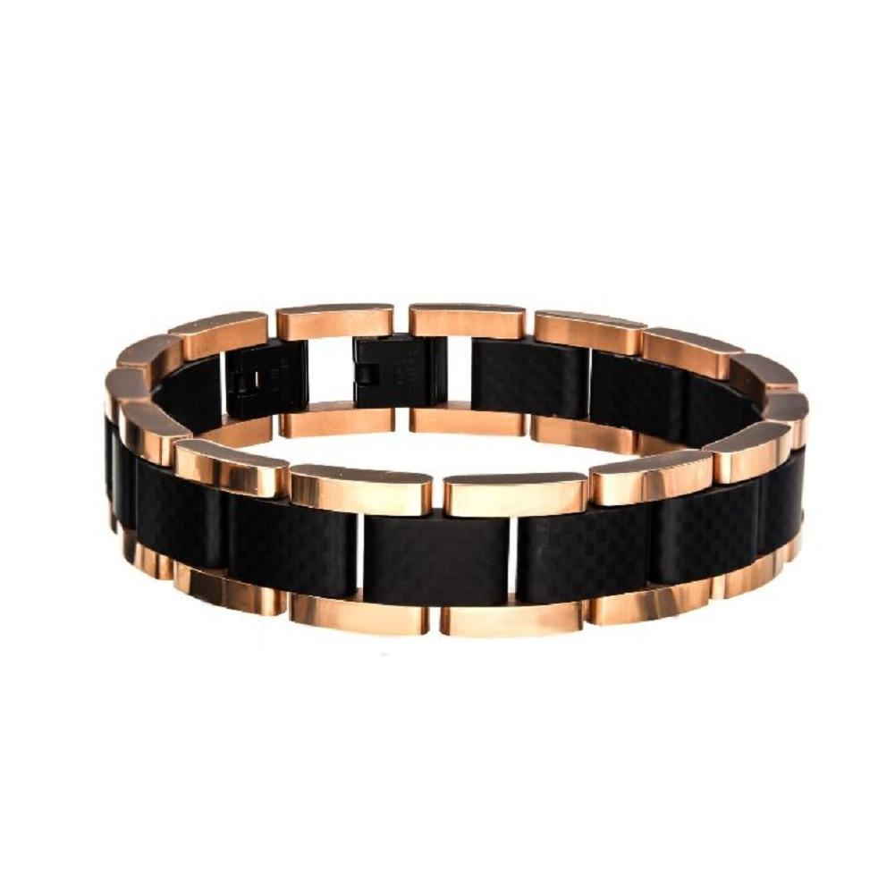 Inox Men's Black adn Rose Gold IP with Carbon Fiber Link Bracelet