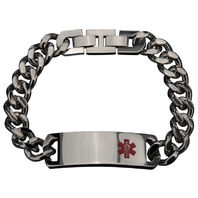 Inox Men'S Stainless Steel Medical Id Bracelet Tag Polished Finish #Brcrbma