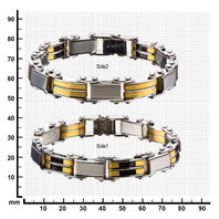 Inox Jewelry Men'S Stainless Steel Black Ip And Gold Ip Reversible Bracelet