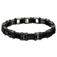 Inox Jewelry Men'S Stainless Steel Greek Keys Black Ip Reversible Bracelet
